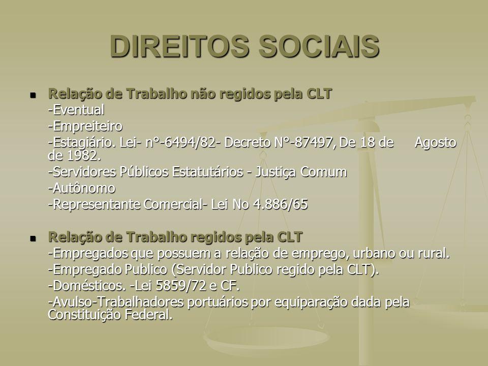 DIREITOS SOCIAIS Relação de Trabalho não regidos pela CLT -Eventual