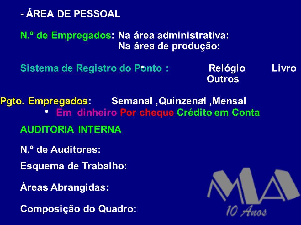 - ÁREA DE PESSOAL N.º de Empregados: Na área administrativa: Na área de produção: Sistema de Registro do Ponto :