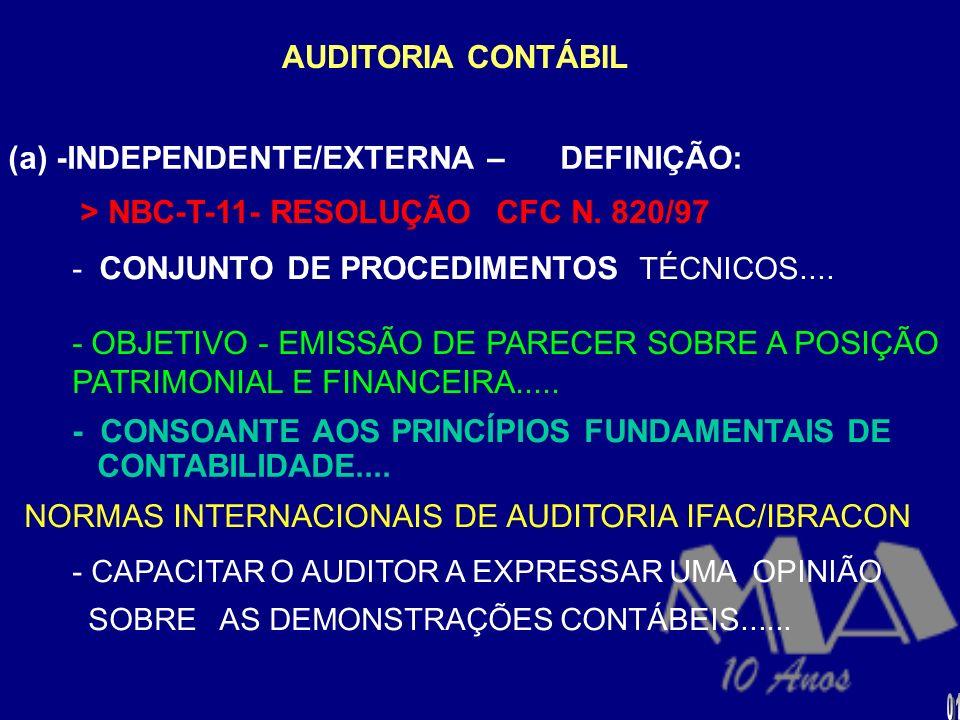 (a) -INDEPENDENTE/EXTERNA – DEFINIÇÃO: