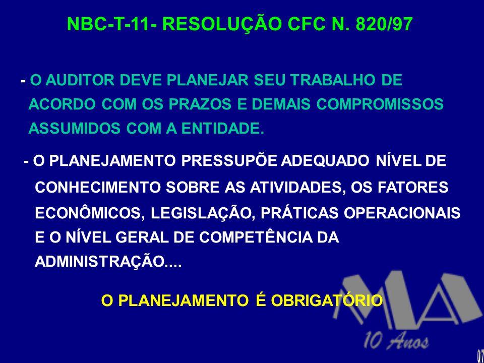 NBC-T-11- RESOLUÇÃO CFC N. 820/97 O PLANEJAMENTO É OBRIGATÓRIO
