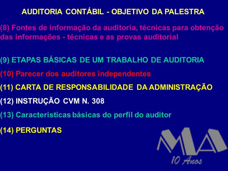 AUDITORIA CONTÁBIL - OBJETIVO DA PALESTRA