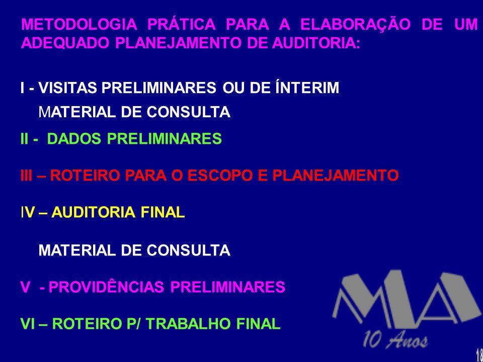I - VISITAS PRELIMINARES OU DE ÍNTERIM