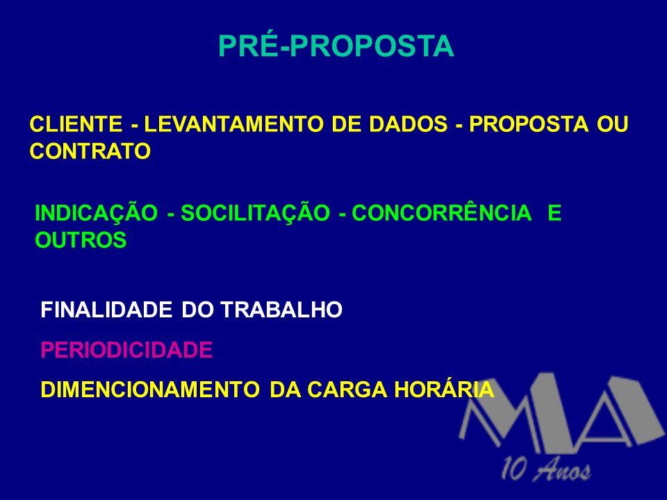PRÉ-PROPOSTA CLIENTE - LEVANTAMENTO DE DADOS - PROPOSTA OU CONTRATO