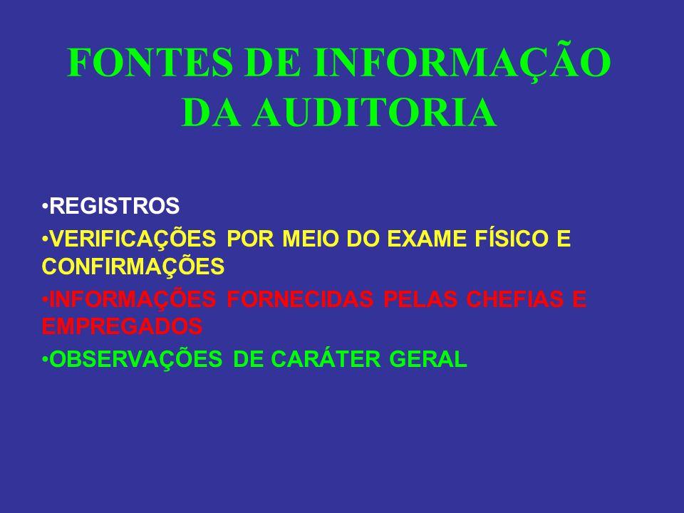 FONTES DE INFORMAÇÃO DA AUDITORIA