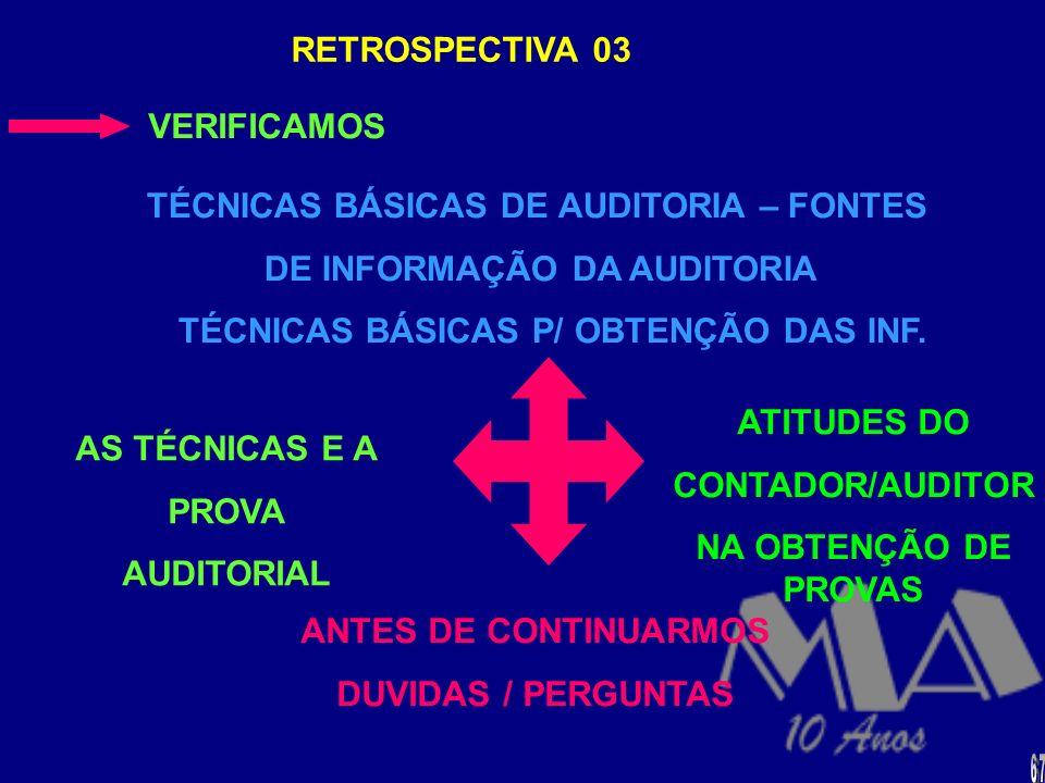 TÉCNICAS BÁSICAS DE AUDITORIA – FONTES DE INFORMAÇÃO DA AUDITORIA