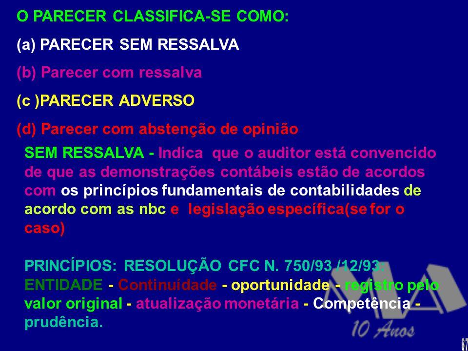 O PARECER CLASSIFICA-SE COMO: (a) PARECER SEM RESSALVA