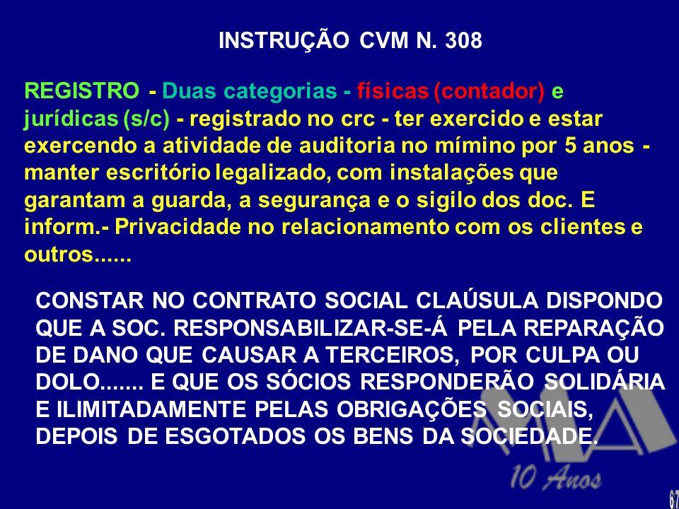 INSTRUÇÃO CVM N. 308