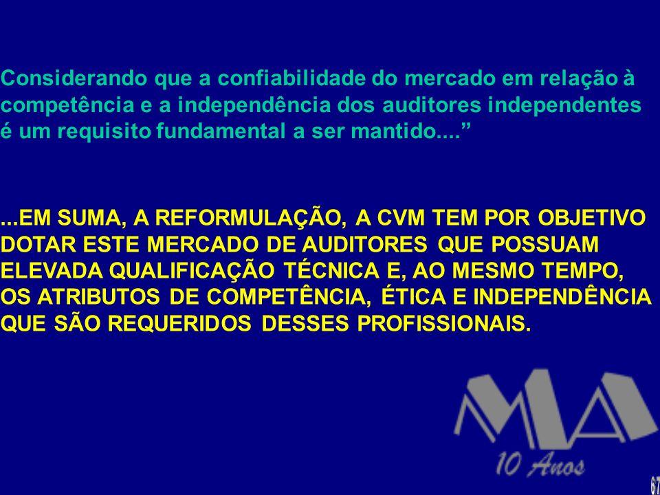 Considerando que a confiabilidade do mercado em relação à competência e a independência dos auditores independentes é um requisito fundamental a ser mantido....