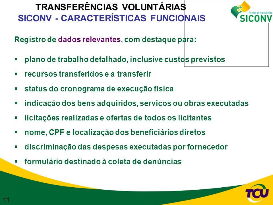 TRANSFERÊNCIAS VOLUNTÁRIAS SICONV - CARACTERÍSTICAS FUNCIONAIS
