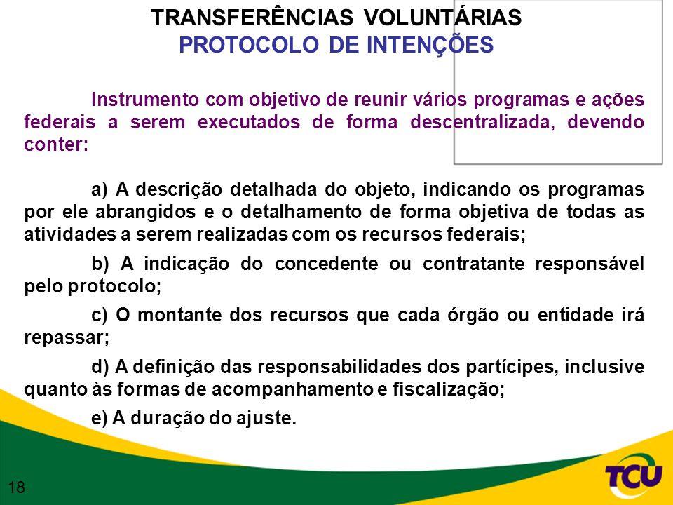 TRANSFERÊNCIAS VOLUNTÁRIAS PROTOCOLO DE INTENÇÕES