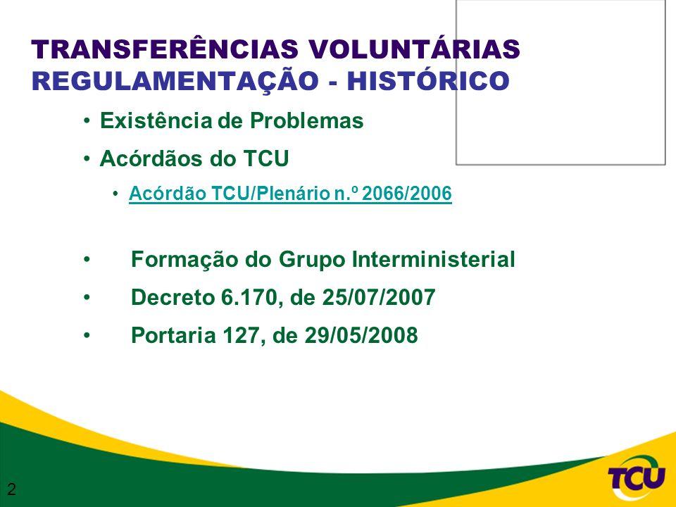 TRANSFERÊNCIAS VOLUNTÁRIAS REGULAMENTAÇÃO - HISTÓRICO