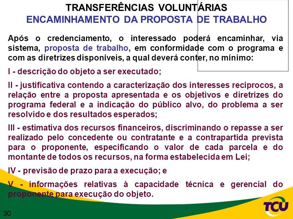 TRANSFERÊNCIAS VOLUNTÁRIAS ENCAMINHAMENTO DA PROPOSTA DE TRABALHO