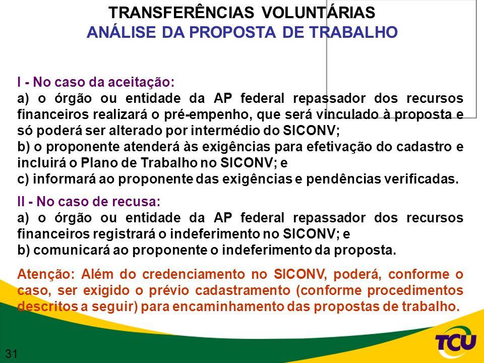 TRANSFERÊNCIAS VOLUNTÁRIAS ANÁLISE DA PROPOSTA DE TRABALHO