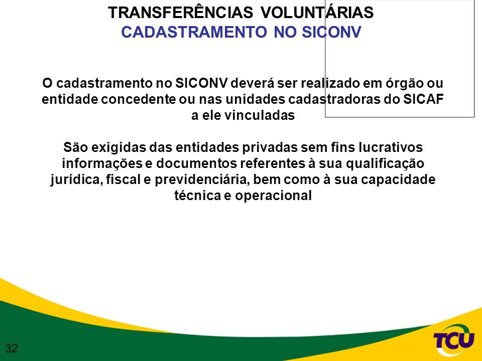 TRANSFERÊNCIAS VOLUNTÁRIAS CADASTRAMENTO NO SICONV