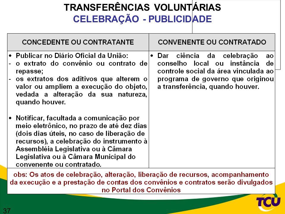 TRANSFERÊNCIAS VOLUNTÁRIAS CELEBRAÇÃO - PUBLICIDADE