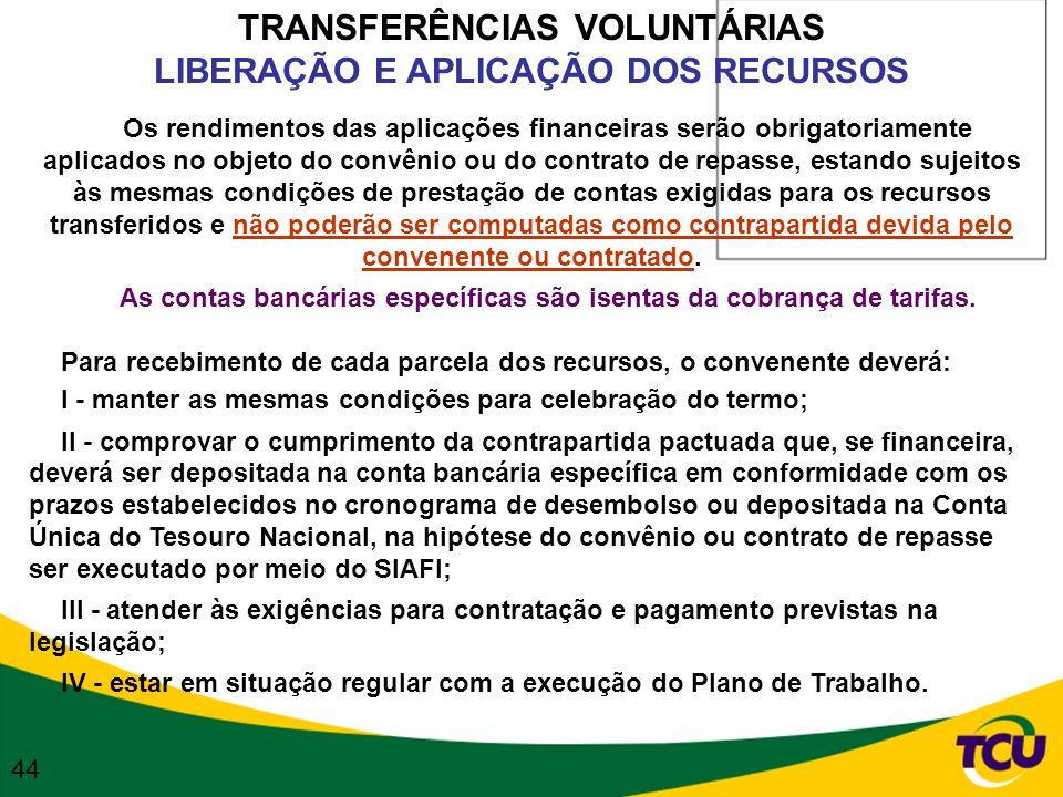 TRANSFERÊNCIAS VOLUNTÁRIAS LIBERAÇÃO E APLICAÇÃO DOS RECURSOS