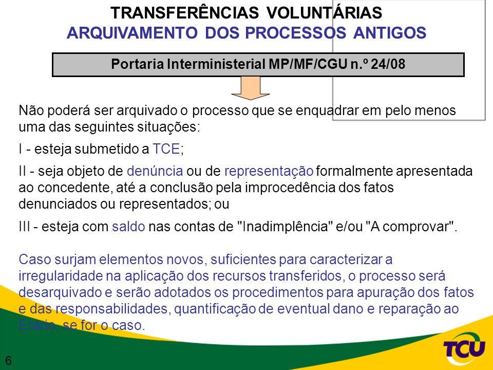 TRANSFERÊNCIAS VOLUNTÁRIAS ARQUIVAMENTO DOS PROCESSOS ANTIGOS