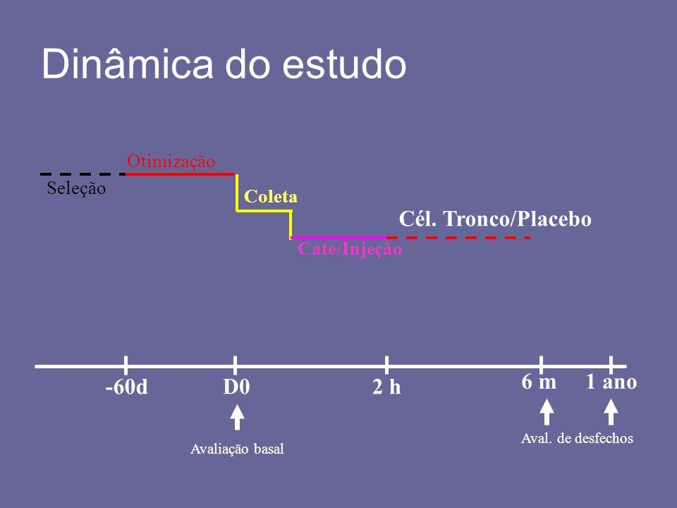 Dinâmica do estudo Cél. Tronco/Placebo 6 m 1 ano -60d D0 2 h