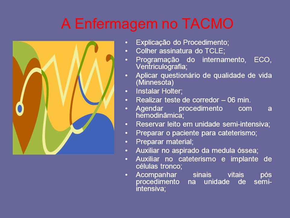 A Enfermagem no TACMO Explicação do Procedimento;