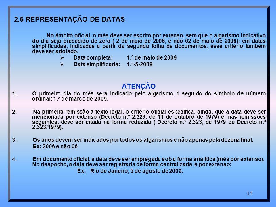 2.6 REPRESENTAÇÃO DE DATAS