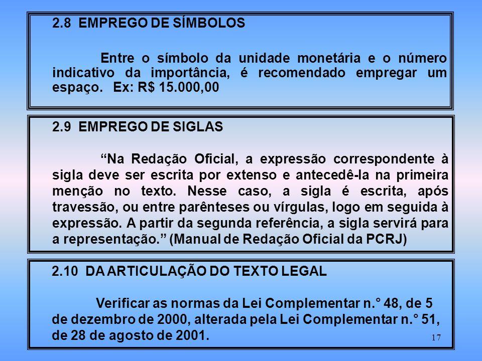 2.8 EMPREGO DE SÍMBOLOS