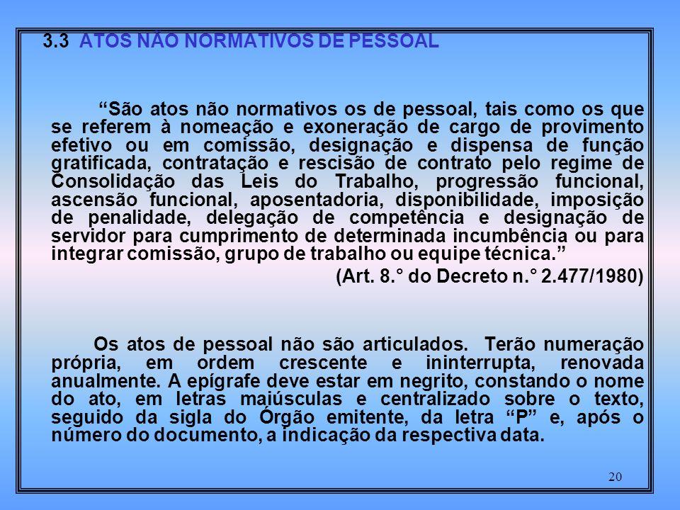 3.3 ATOS NÃO NORMATIVOS DE PESSOAL