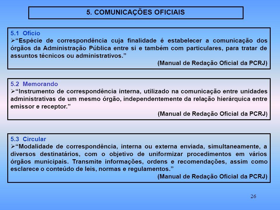 5. COMUNICAÇÕES OFICIAIS