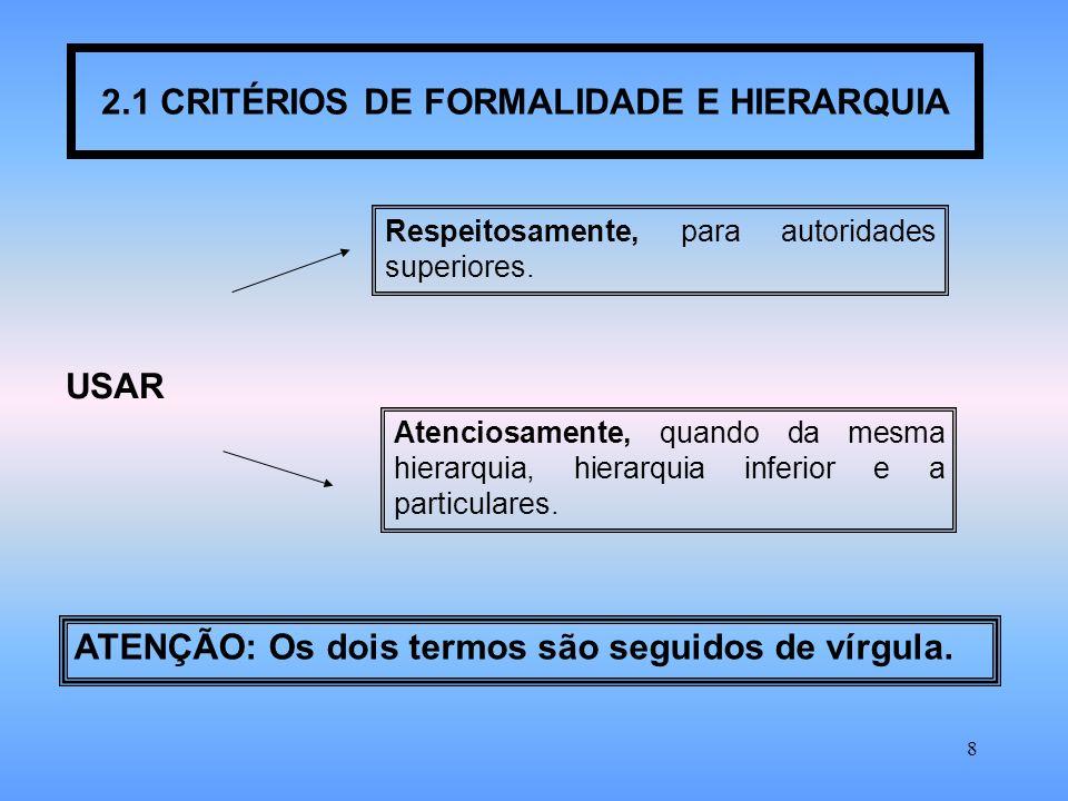 2.1 CRITÉRIOS DE FORMALIDADE E HIERARQUIA