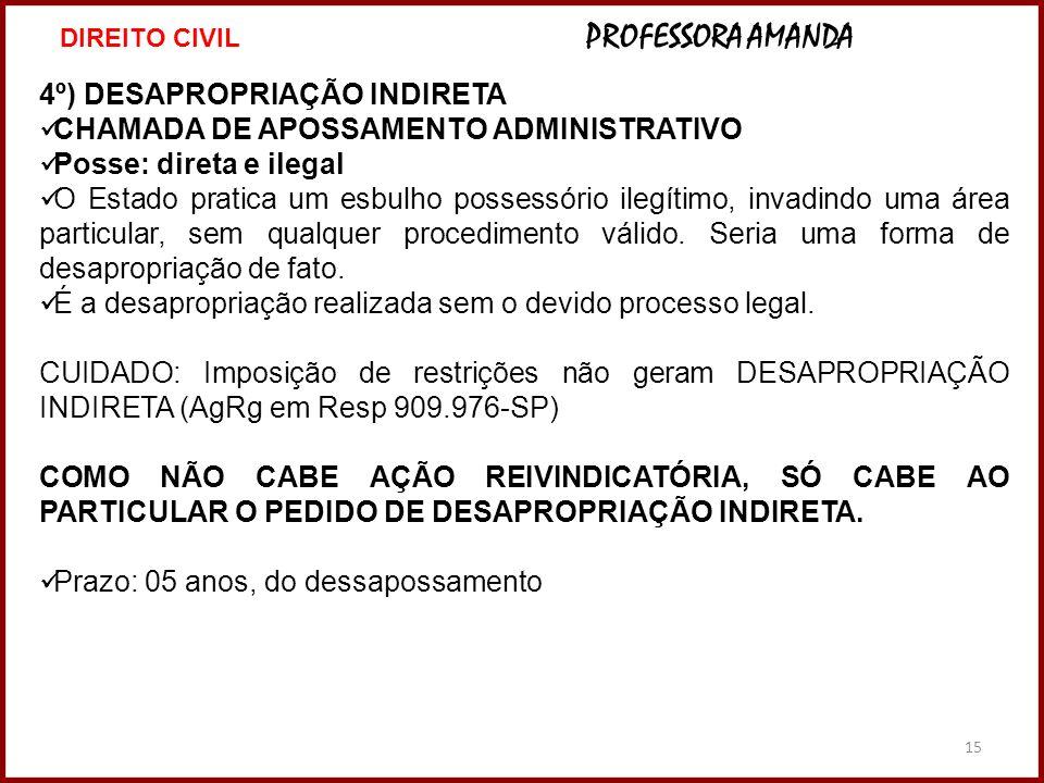 4º) DESAPROPRIAÇÃO INDIRETA CHAMADA DE APOSSAMENTO ADMINISTRATIVO