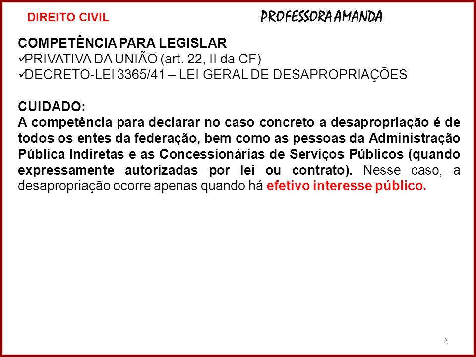COMPETÊNCIA PARA LEGISLAR PRIVATIVA DA UNIÃO (art. 22, II da CF)