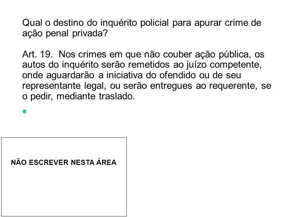 Qual o destino do inquérito policial para apurar crime de ação penal privada
