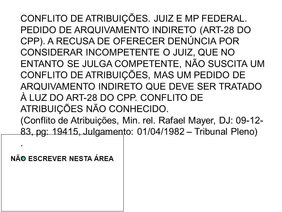 CONFLITO DE ATRIBUIÇÕES. JUIZ E MP FEDERAL