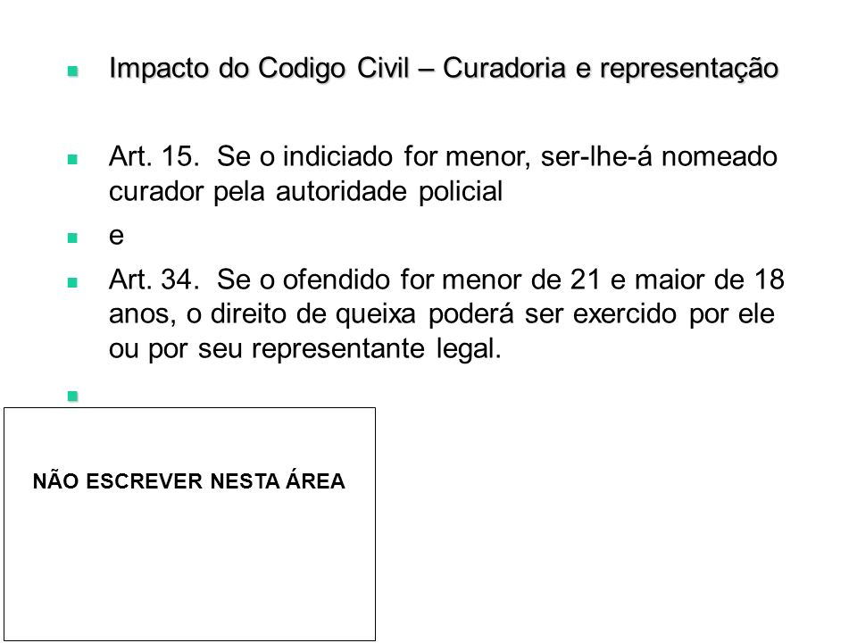 Impacto do Codigo Civil – Curadoria e representação