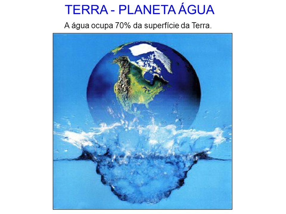 TERRA - PLANETA ÁGUA A água ocupa 70% da superfície da Terra.