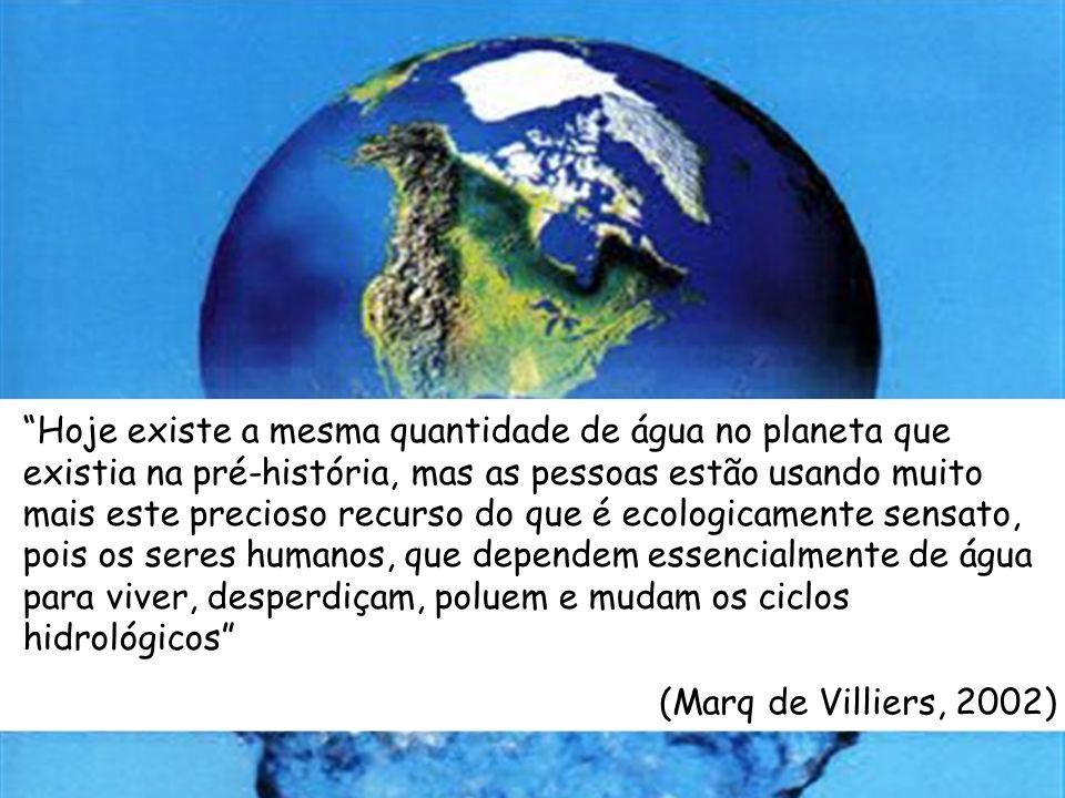 Hoje existe a mesma quantidade de água no planeta que existia na pré-história, mas as pessoas estão usando muito mais este precioso recurso do que é ecologicamente sensato, pois os seres humanos, que dependem essencialmente de água para viver, desperdiçam, poluem e mudam os ciclos hidrológicos