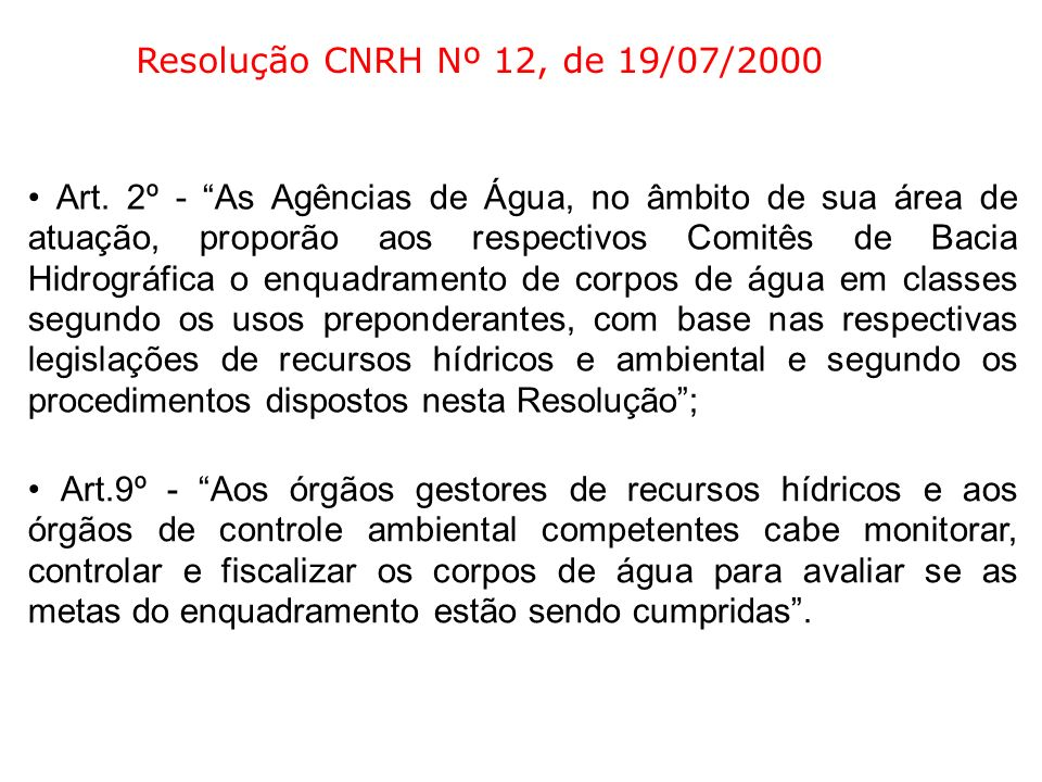 Resolução CNRH Nº 12, de 19/07/2000