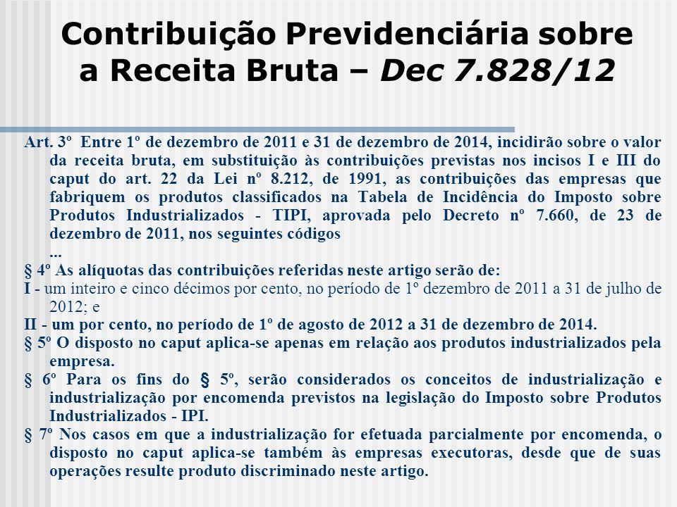 Contribuição Previdenciária sobre a Receita Bruta – Dec 7.828/12