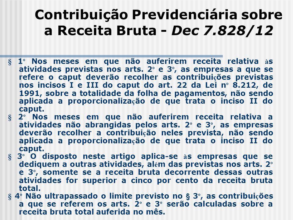 Contribuição Previdenciária sobre a Receita Bruta - Dec 7.828/12