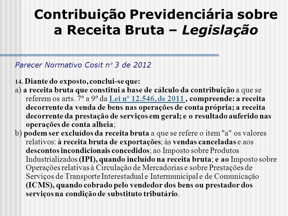 Contribuição Previdenciária sobre a Receita Bruta – Legislação