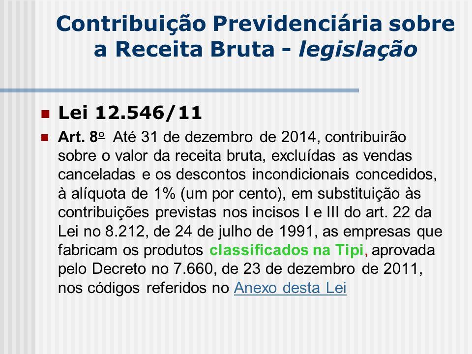 Contribuição Previdenciária sobre a Receita Bruta - legislação
