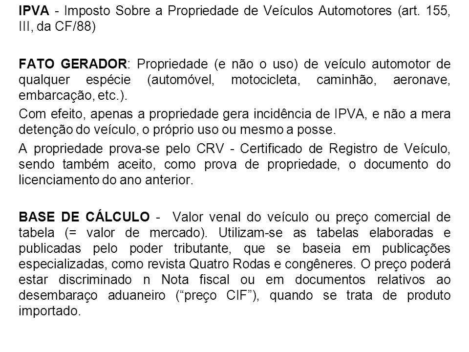 IPVA - Imposto Sobre a Propriedade de Veículos Automotores (art