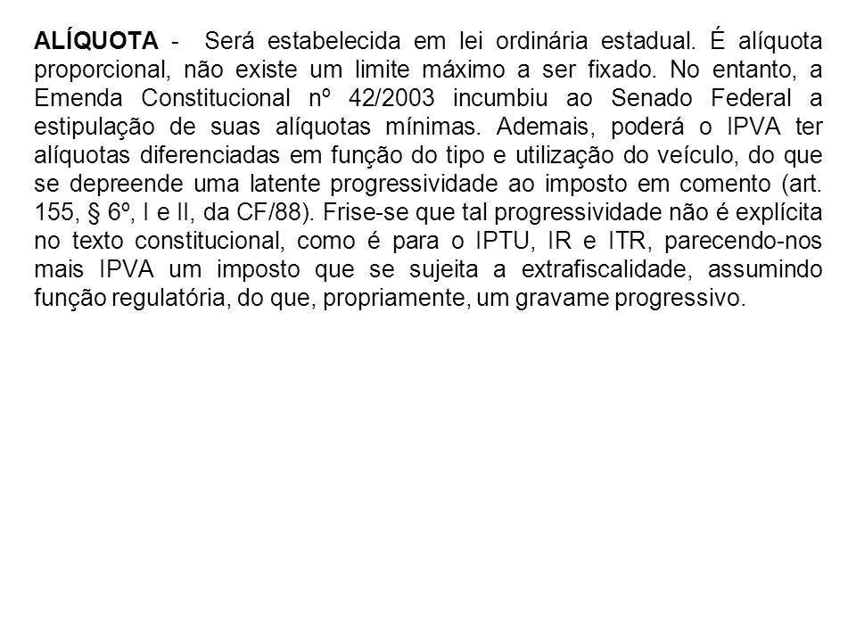 ALÍQUOTA - Será estabelecida em lei ordinária estadual