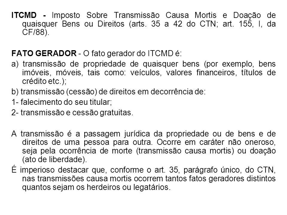 ITCMD - Imposto Sobre Transmissão Causa Mortis e Doação de quaisquer Bens ou Direitos (arts. 35 a 42 do CTN; art. 155, I, da CF/88).