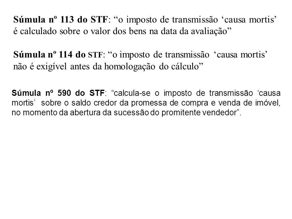 Súmula nº 113 do STF: o imposto de transmissão 'causa mortis' é calculado sobre o valor dos bens na data da avaliação