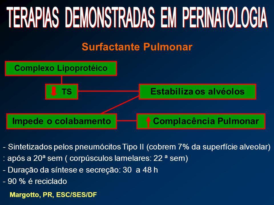 Complexo Lipoprotéico Estabiliza os alvéolos Complacência Pulmonar