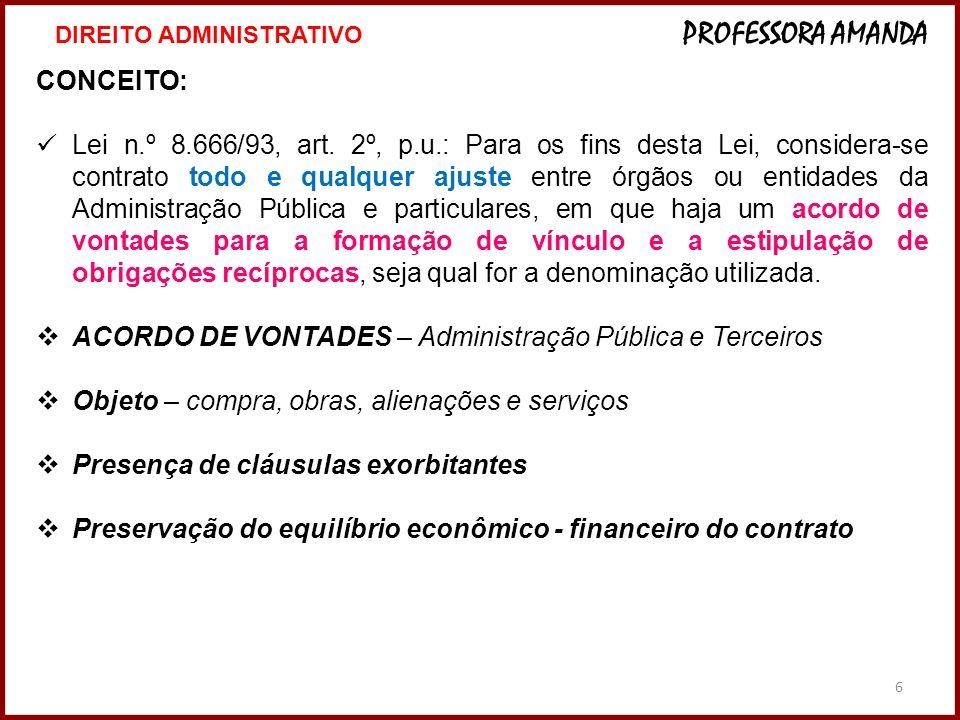 ACORDO DE VONTADES – Administração Pública e Terceiros