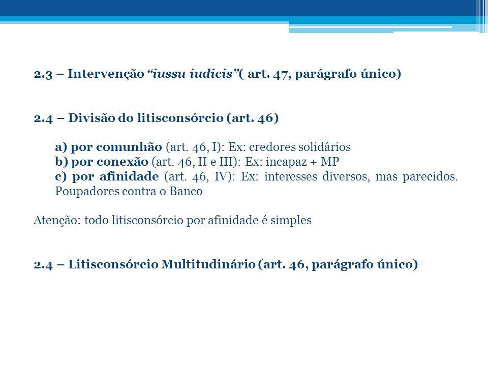 2.3 – Intervenção iussu iudicis ( art. 47, parágrafo único)
