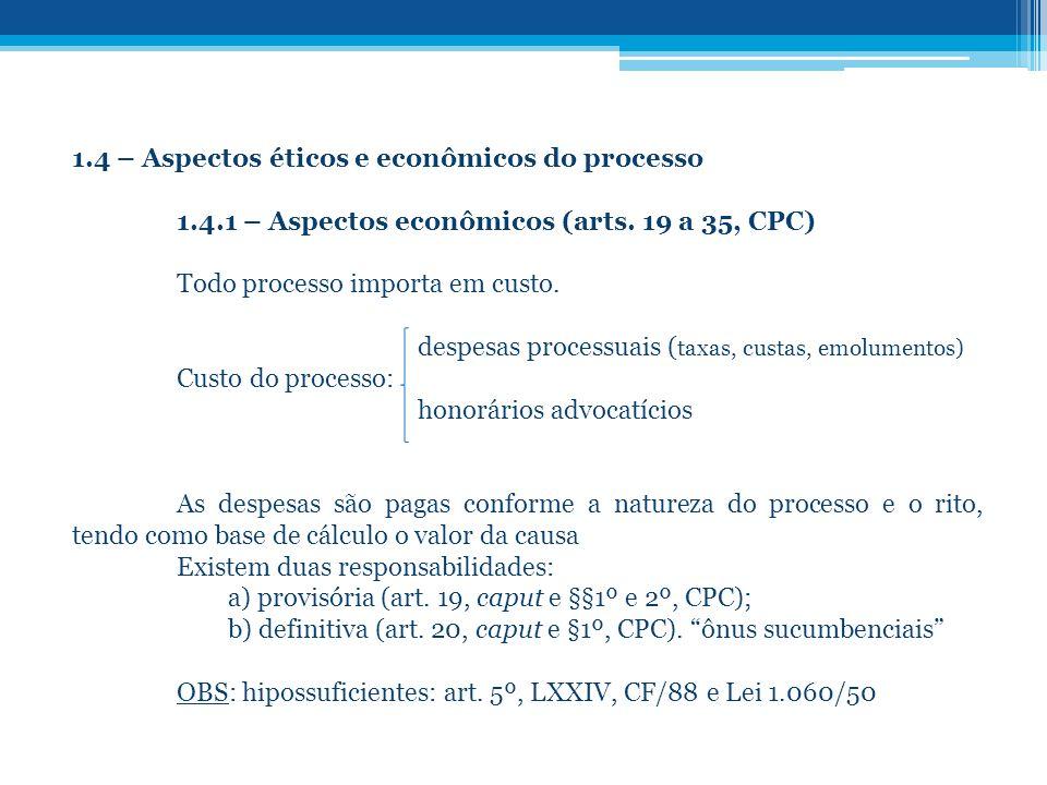 1.4 – Aspectos éticos e econômicos do processo
