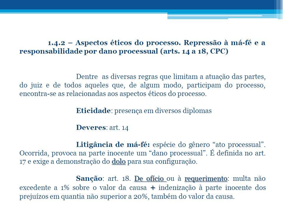 1. 4. 2 – Aspectos éticos do processo