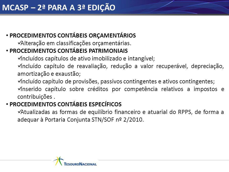 MCASP – 2ª PARA A 3ª EDIÇÃO PROCEDIMENTOS CONTÁBEIS ORÇAMENTÁRIOS